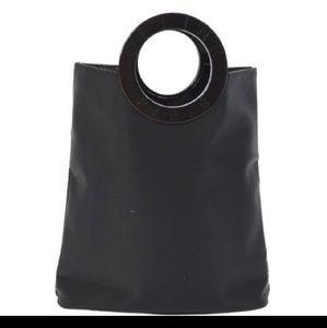 VTG Celine Logo Lucite Black Nylon Mini Tote